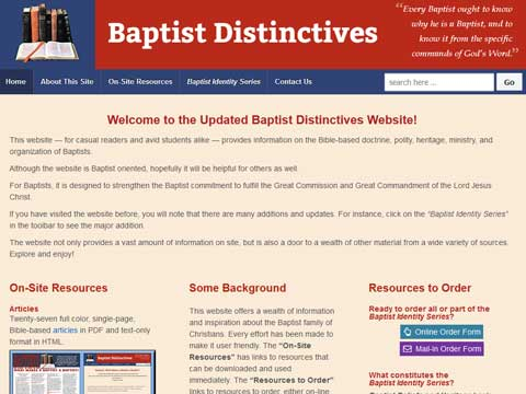 William Pinson engaged JBH Communications to design and maintain baptistdistinctives.org