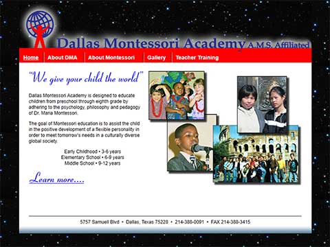 Dallas, Texas montessori academy website designer