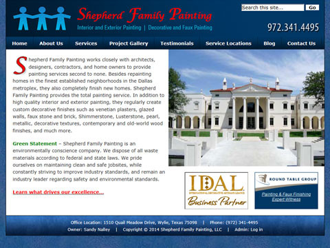 Dallas, Texas Wordpress website developer for painting firms