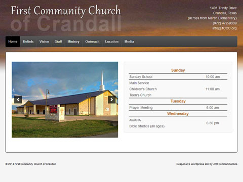 Responsive Wordpress web sites for Churches in Dallas